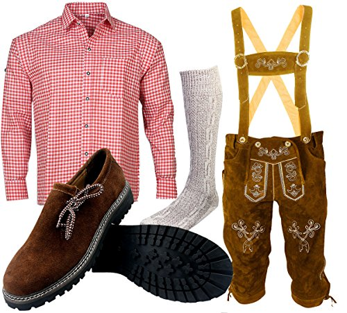 ALL THE GOOD B 1 Trachtenset (Hose +Hemd +Schuhe +Socken) Bayerische Lederhose Trachtenhose Oktoberfest Leder Hose Trachten (Hose 52 Hemd 42/43)