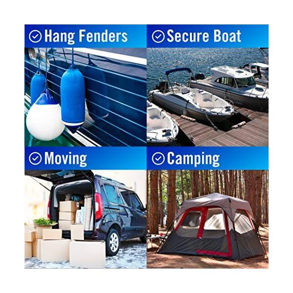 Boat Fender Lines for Boat Bumper Fender Hangers Marine Rope for Boats Jet Ski Double Braided Nylon 6 Feet Black 2 Pack
