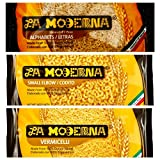 La Moderna Fideo Pasta Variety Pack Vermicelli Noodles, Alphabet Pasta, Elbow Macaroni, Pack of 6, 7 oz each