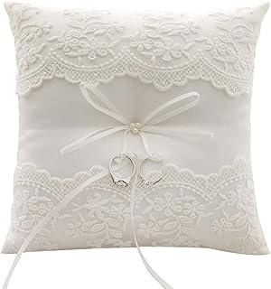 Yaosh Obrączka poduszka koronkowy pierścień poduszka obrączki ślubna poduszka ślubna z satynową wstążką kokarda biała koro...