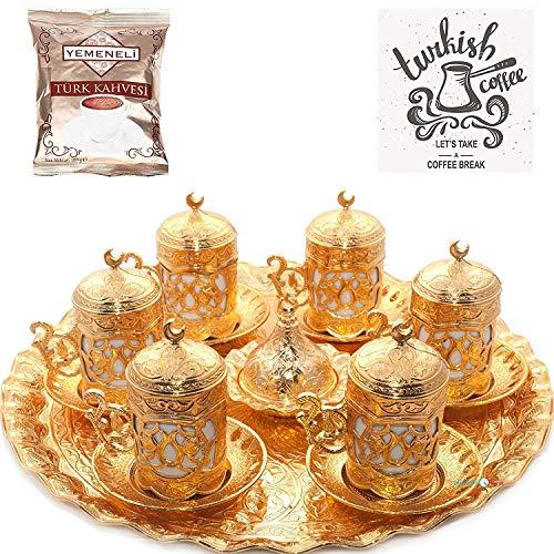 Juego de platos para servir café árabe turco (dorado)