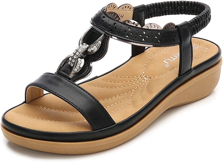 GIY Fashion Wedges Flat Bohemian Sandals for Women Summer Strappy Beach Roman Casual Platform Flat shoes