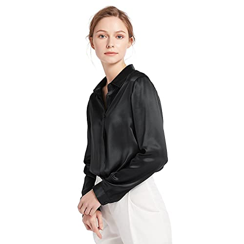 25997877a2 LilySilk Women s 100 Silk Blouse Long Sleeve Lady Shirt 22 Momme Pure  Charmeuse Silk