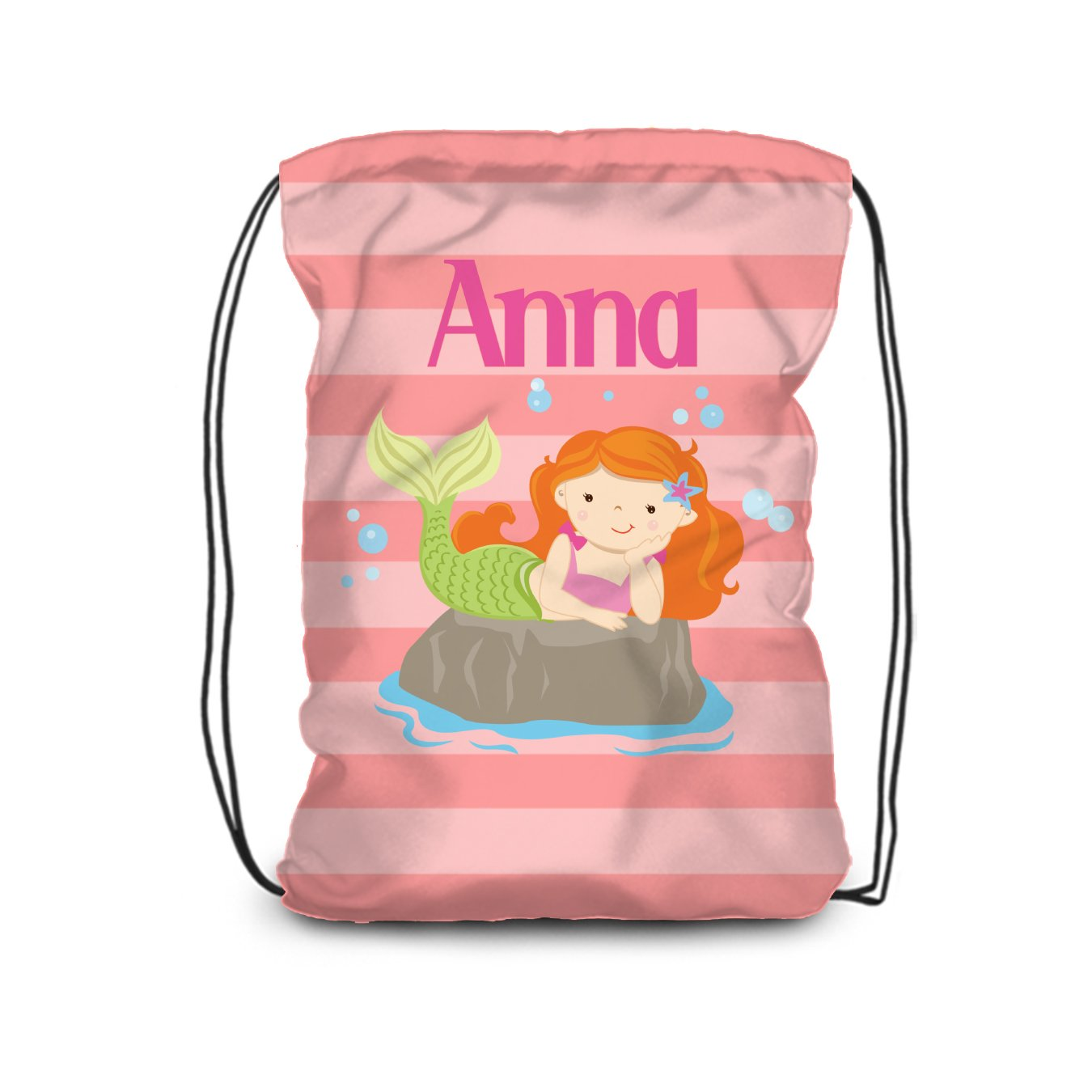 Mermaid Drawstring Backpack - Coral Max 51% OFF Bag Large-scale sale Stripe