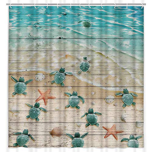 """Sea Turtle Shower Curtain, Sea Turtles and Starfish at Ocean Sandy Beach on Rustic Vintage Wood Panels Shower Curtain for Bathroom, Sea Creatures Bathroom Curtain (69"""" W by 70"""" L)"""