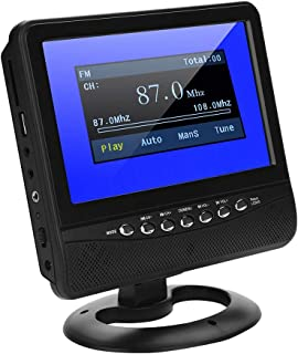 Portable TV for Car, 7in LCD HD High Resolution Mini TV with FM Radio Function with Clear Vision