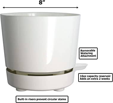 """8"""" Self Watering + Self Aerating High Drainage Deep Reservoir Round Plant Pot, Maintains Healthy Roots, for Indoor &"""