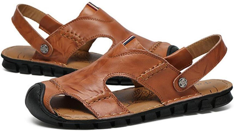 QSYUAN Men Es New Leisure Sandalen Flache Boden Schuhe Pedal & Comfort Atmungsaktive Dämpfung Balance Anti-Slip-Tasche Zehen Strandschuhe Und Casual schuhe,braun,41  | Modern Und Elegant