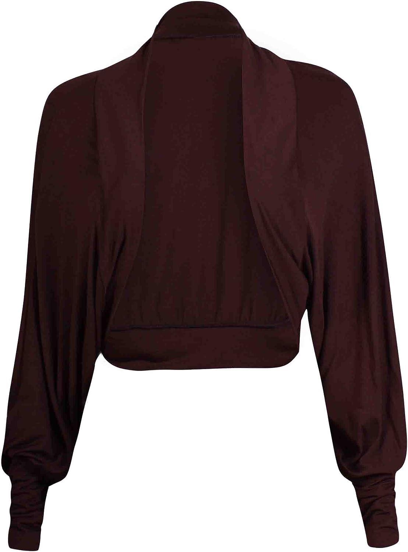 Purple Hanger Women's Long Batwing Sleeve Crop Shrug Cardigan Dark Brown 4-6