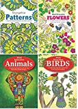 Squiggle A4 Adult Anti-Stress Colouring Book Set of 4 Books - Flowers, Patterns, Animals & Birds