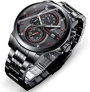 Mens Watch,Stone Quartz Watch Fashion Stainless Steel Large Face Wrist Watch