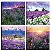 キャンバスに壁アート絵画紫白い花ラベンダーポスターとプリント壁の写真ホームオフィスの装飾40X40cm16x16インチフレーム付き
