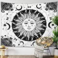 "Sun Moon Tapestry Starry Night Wall Hanging Moon Landscape Constellations Lunar Phases Bohemian Eclipse Black and White Wall Decor Astrology Galaxy Boho Celestial Tapestry (White Sun, 51""x59"")"