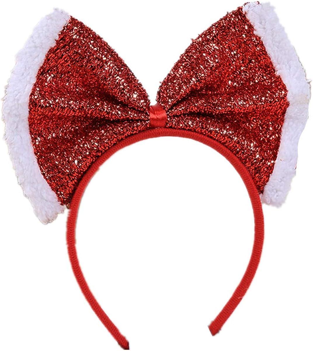 WINZIK Christmas Headwear Gingerbread Man Striped Bowknot Hair Hoop Cute Headband Xmas Holiday Party Supplies Gifts