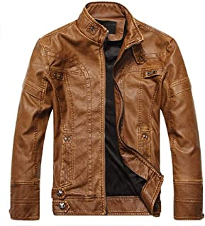 ChangNanJun Men's Vintage Stand Collar Pu Leather Jacket