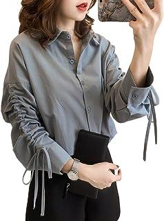 MIOIM ブラウス レディース Vネック 半袖 オープンショルダー トップス シフォン シャツ 夏 薄款 スリム ベストカジュアル ノースリーブ Tシャツ