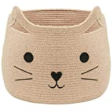 VK Living Large Woven Cotton Rope Storage Basket with Cute Cat Design - Laundry Basket Organizer for Towels, Blanket, Toys, Clothes, Gifts – Pet or Baby Gift Basket for Cat, Dog – 15.7' L x 15.7' H