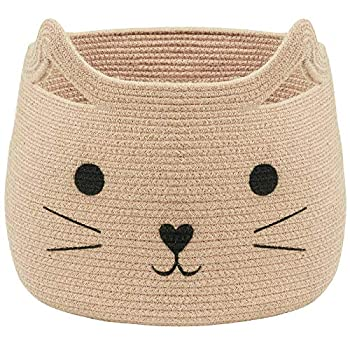 VK Living Large Woven Cotton Rope Storage Basket with Cute Cat Design Animal Laundry Basket Organizer for Towels Blanket Toys Clothes Gifts – Pet or Baby Gift Basket for Cat 15.7  L x 15.7  H