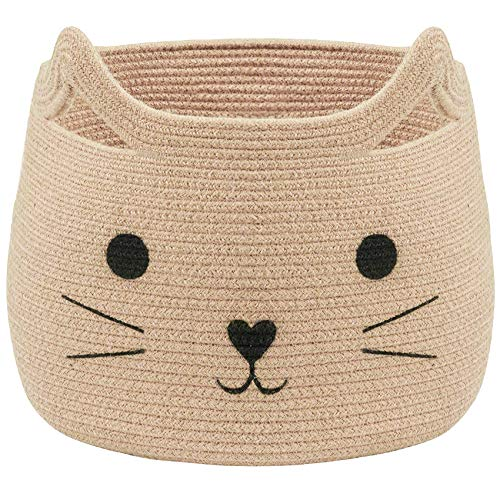 """VK Living Large Woven Cotton Rope Storage Basket with Cute Cat Design - Laundry Basket Organizer for Towels, Blanket, Toys, Clothes, Gifts – Pet or Baby Gift Basket for Cat, Dog – 15.7"""" L x 15.7"""" H"""