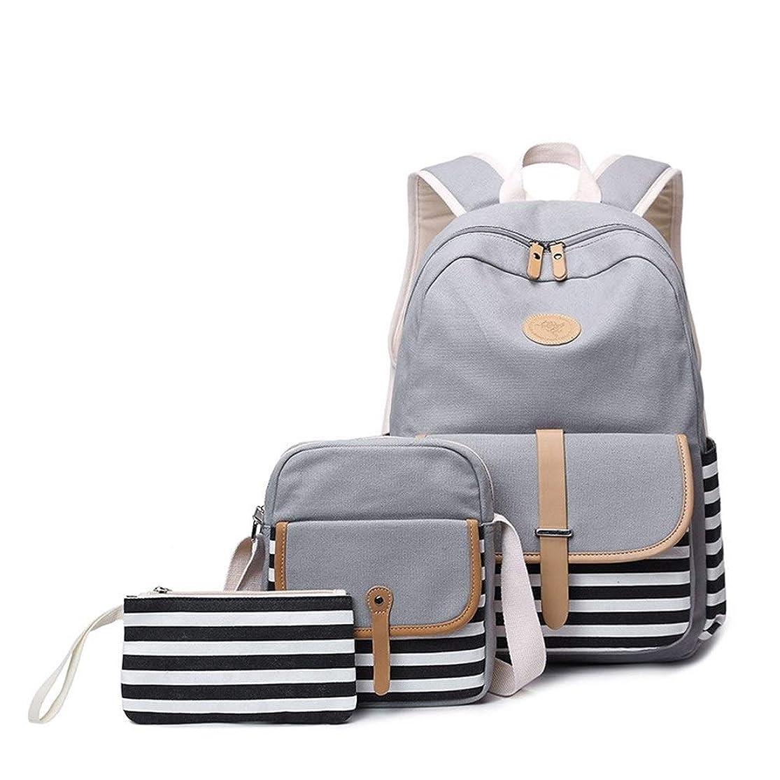 ワーカー独裁取り出すスクールバックパック、キャンバスバックパック、ティーンガール向けのランチバッグと鉛筆ケース付き軽量ラップトップバッグ、3 in 1 Blue (Color : Gray)