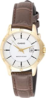 Casio Women's White Dial Leather Analog Watch - LTP-V004GL-7AUDF
