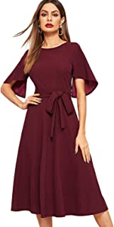Milumia Women's Criss Cross Round Neck A Line Casual Dress