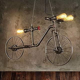 Lámpara Colgante Bicicleta Industrial De Forma Tubo Metálico Con 3 Luces Lámpara De Techo De Rústico Retro Hierro Metal Tubería De Hierro Edison Bombilla De Restaurante Salón De Decoración Lámpara