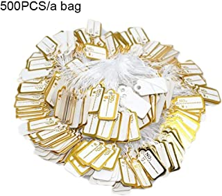 500pcs Jewelry String Cord Price Tags Custom Printing Blank Label Gold Silver Display Accessories Jewellery Store (Color : Gold)