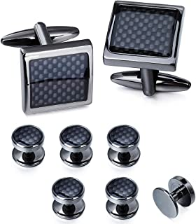 Carbon Fiber Cufflinks and Shirt Studs Set for Men Tuxedo Cuff Links Square with Gift Box Formal Business Wedding Annivers...