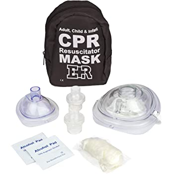 Ever Ready First Aid Adult and Infant CPR Mask Combo Kit with 2 Valves with Pair of Nitrile Gloves & 2 Alcohol Prep Pads - Tactical Black