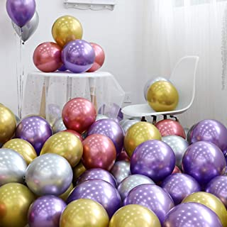 Loves Town 100pcs Shiny Balloons, 12inch Party Balloons Metal Balloons Latex Balloons for Decoration Compatible Wedding Birthday Baby Shower Party