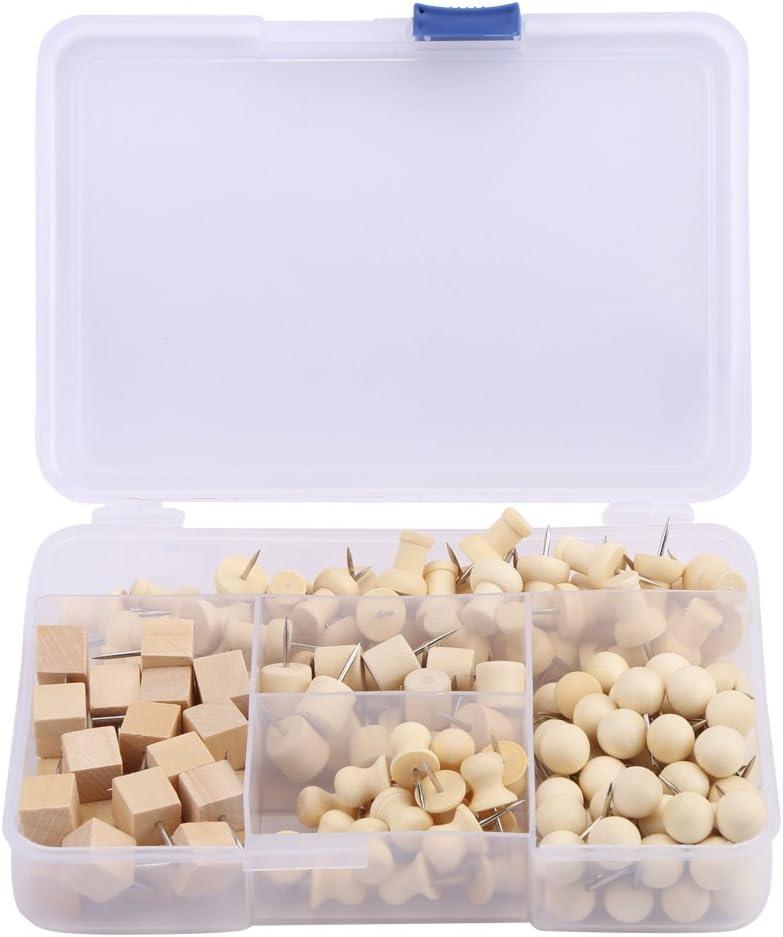 180Pcs Wooden Push Pins Over Max 53% OFF item handling ☆ Head for Tacks Thumb C Steel