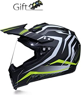 BBJZQ Motocross Helmets,Motorcycle Helmet Mountain Road Bicycle Helmet Adult Off-Road Racing Helmet Good Ventilation Full Face Racing Helmet with Glasses,for Men Women -DOT