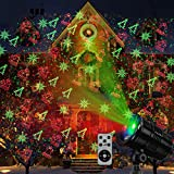 YMing Christmas Laser Lights Outdoors Mini Projector Light Led Star Show Decorations for Xmas Home House Yard Garden Patio Wall Indoor Decor, Red and Green with rf Wireless Remote