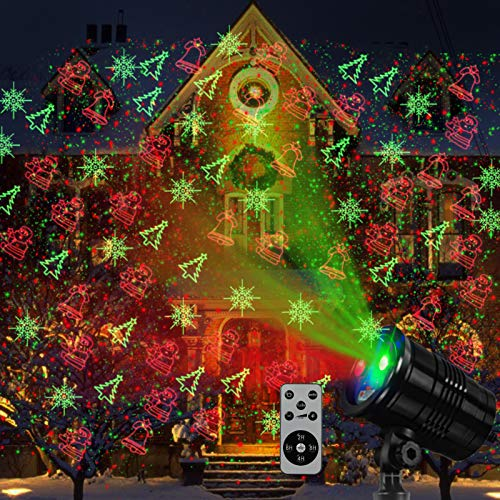 Christmas Laser Lights Outdoors Mini Projector Light Waterproof Led Star Show Decorations for Xmas Home House Yard Garden Patio Wall Indoor Decor, Red and Green with Wireless Remote Christmas Lights