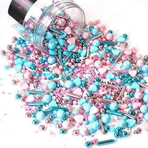 mySprinkles - Bolas de azúcar (180 g), diseño de unicornio, color rosa y azul claro