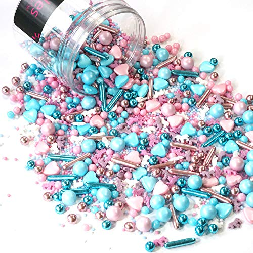 mySprinkles - Caramelos de unicornio rosa claro Sprinkles - perfecto para hornear cumpleaños infantiles, corazones, tartas, cupcakes, muffins Cakepops (180 g), rosa, 180g