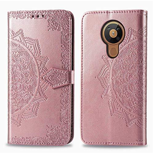 Bear Village Hülle für Nokia 5.3, PU Lederhülle Handyhülle für Nokia 5.3, Brieftasche Kratzfestes Magnet Handytasche mit Kartenfach, Roségold