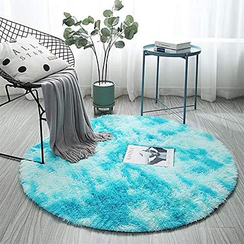 AKEFG Plüsch-Art Rund-Vorleger eleganten Chic Cozy Shaggy Rund Teppich Boden Teppichboden Vorleger Hausdekoration Fluffy Super Soft Kinderspielmatte,Blau,80 cm