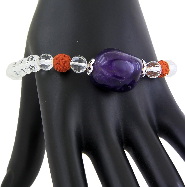 Skyjewels Amethyst and Sphatik Adjustable Bracelet