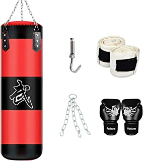 """31.5""""-71"""" MMA Boxing Heavy Punching Training Bag with Chains +Handbag Hook+Boxing Gloves+Hands Bandages Kickboxing Muay Th..."""