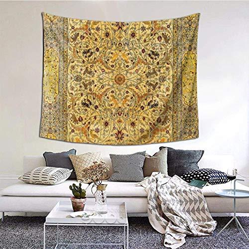 Wandteppich, Hereke Nordwest Anatolische Seide Teppich Druck Tapisserie 152 x 127 cm Boho Wandkunst Wandteppich zum Aufhängen für Wohnheim, Wohnzimmer, Zuhause dekorativ