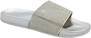 FUNKYMONKEY Women's Slides Rhinestone Glitter Slip On Footbed Platform Sandals