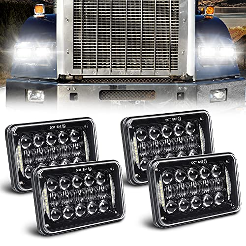 Newest Lens 60W 4x6 Inch LED Headlights with DRL for H4651 H4652 H4656...