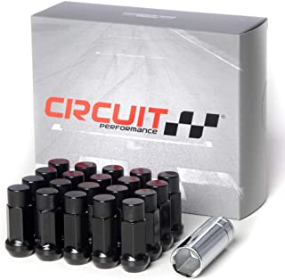 Circuit Performance Forged Steel Extended Hex Lug Nut for Aftermarket Wheels: 12x1.25 Black - 20 Piece Set + Tool