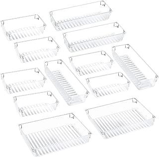 $20 » Puroma Desk Drawer Organizer Trays with 3-Size Versatile Drawer Dividers 12 Organizers Storage Bins for Makeup Utensil Dresser Bedroom Bathroom Kitchen Office