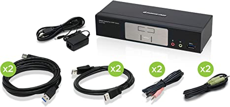 IOGEAR 2-Port Cinema 4K DisplayPort 1.2 KVMP Switch with USB 3.1 Hub and Audio – w/Full Set of Cables (GCS1932 TAA Compliant)