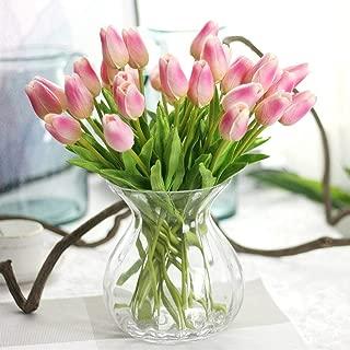 CQURE Artificial Flowers,Fake Flowers Bouquet Silk Tulip Real Touch Bridal Wedding Bouquet for Home Garden Party Floral Decor 10 Pcs (Deep Pink)