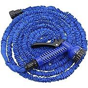 Fomei ExpandableGardenHose,50FTStrongestExpandingGardenHoseontheMarketwithTripleLayerLatexCore&LatestImprovedExtraStrengthFabricProtectionforAllYourWateringNeeds(Blue)