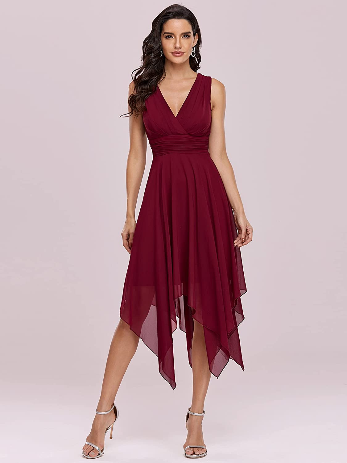 Ever-Pretty Women Double V Neck Ruched Waist A Line Cocktail Party Dress 3142